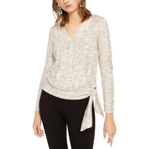 NWT -INC Sequin Wrap Style Top